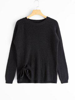 Raglan Sleeve Bowknot Sweater - Black