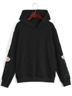 Floral Patched Front Pocket Hoodie - Black L