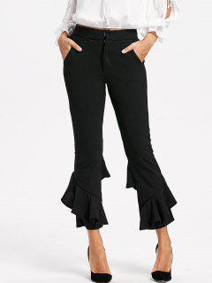 Layered Cropped Flare Pants - Black L