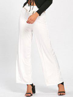 Metallic Zip High Waisted Wide Leg Pants - White 2xl