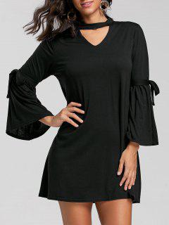Keyhole Neck Bell Sleeve Mini T-shirt Dress - Black M