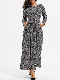 Robe Maxi Taille Haute Taille Zig Zag - Noir S