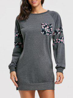 Crew Neck Floral Print Mini Sweatshirt Dress - Deep Gray Xl