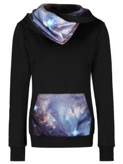Starry Sky Panel Kangaroo Pocket Hoodie - M