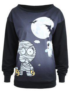 Crew Neck Bandage Ghost Halloween Sweatshirt - Black Xl