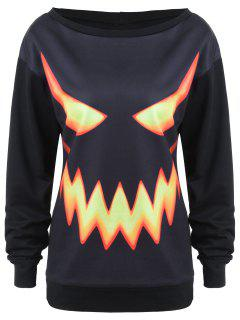 Sweat-shirt Halloween Imprimé Visage De Citrouille Ras Du Cou - Noir M