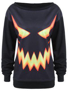 Crew Neck Pumpkin Face Halloween Costume Sweatshirt - Black 2xl