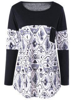 Monochrome Curved Tunic Top - Black 2xl