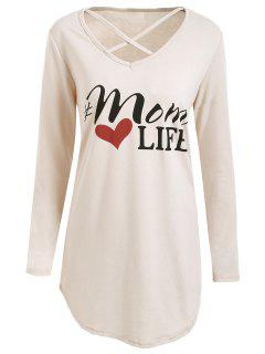 Long Sleeve Criss Cross Graphic Tunic T-shirt - Off-white L