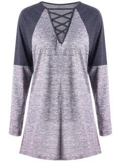 Criss Cross Contrast Color Long Sleeve Top - Gray L