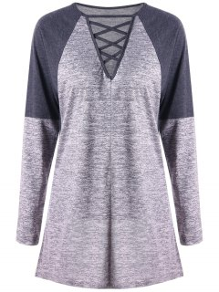 Criss Cross Contrast Color Long Sleeve Top - Gray Xl