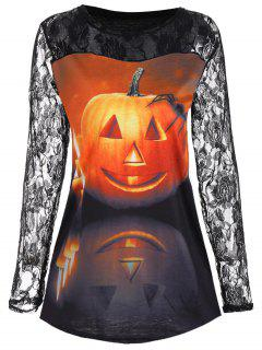Floral Lace Yoke Halloween Pumpkin T-shirt - M