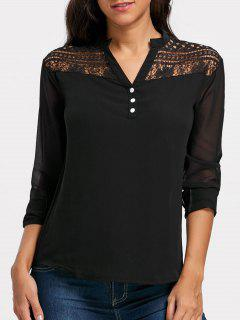 Lace Insert Sheer Chiffon Henley Blouse - Black M