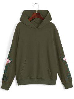 Floral Patched Front Pocket Hoodie - Army Green L