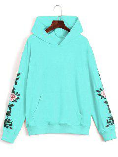 Floral Patched Front Pocket Hoodie - Sky Blue Xl