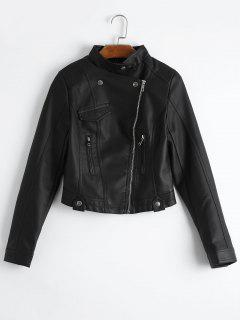 Plain Zip Up Faux Leather Jacket - Black M