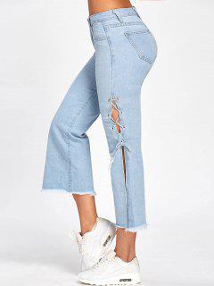 Lace Up Raw Hem Capri Jeans - Denim Blue L