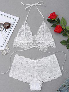 Halter Lace Bralette Set - White M