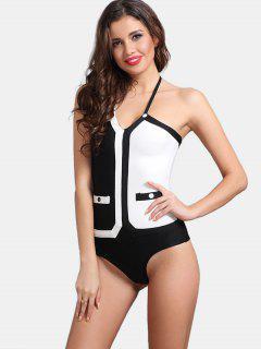 Contrast Halter Bodysuit - White And Black S
