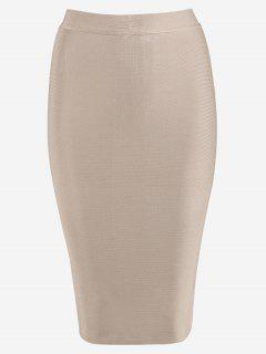 High Waist Bodycon Skirt - Apricot L