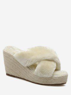 Faux Fur Criss Cross Wedge Heel Slippers - Apricot 38