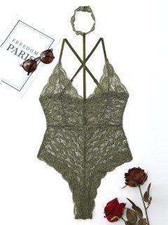 Lace Criss Cross Choker Teddy - Army Green S