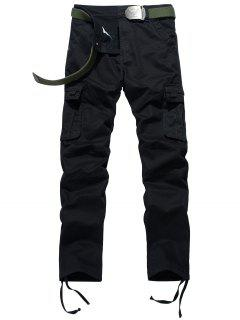 Zipper Fly Drawstring Feet Pockets Cargo Pants - Black 38