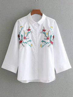 Batwing Loose Floral Embroidered Shirt - White L