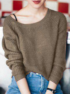 Boat Neck Loose Sweater - Dark Khaki