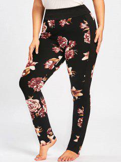 Plus Size Floral Tight Pants - Black 4xl