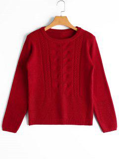 Cable Knit Panel Bowknot Applique Sweater - Red