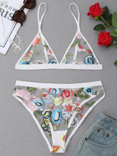 Embroidered Mesh Triangle Bra Set - White M