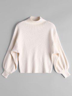 Lantern Sleeve Mock Neck Sweater - Off-white