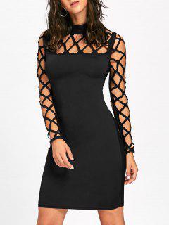 Ausgeschnittenes Argyle Long Sleeve, Figurbetontes Kleid - Schwarz 2xl
