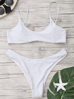 Hohe Schlitz Scoop Tanga Bikini Set - Weiß M