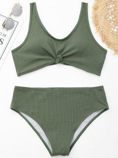 Knotted Ribbed Plus Size Bikini - Green Xl