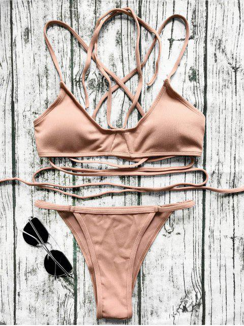 sale V String Bralette Bikini Set - LATERITE S Mobile