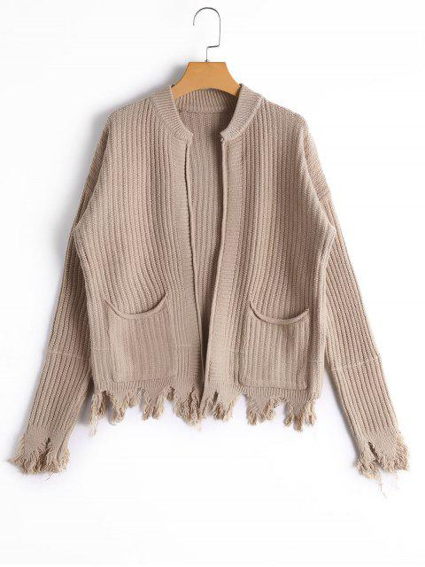 outfit Pockets Distressed Open Front Cardigan - KHAKI ONE SIZE Mobile