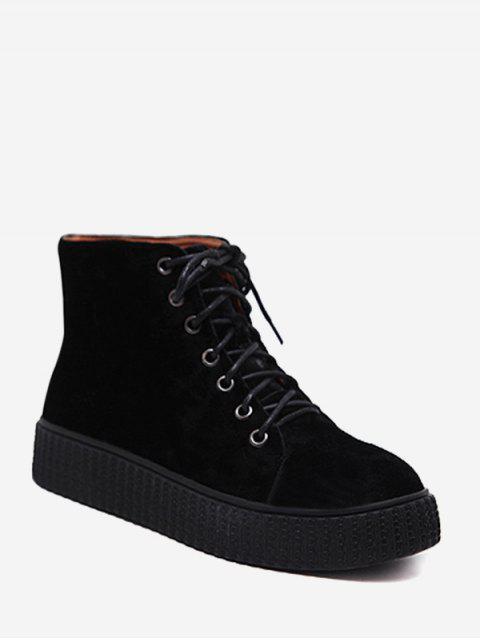 shop Tie Up Faux Suede Ankle Boots - BLACK 39 Mobile