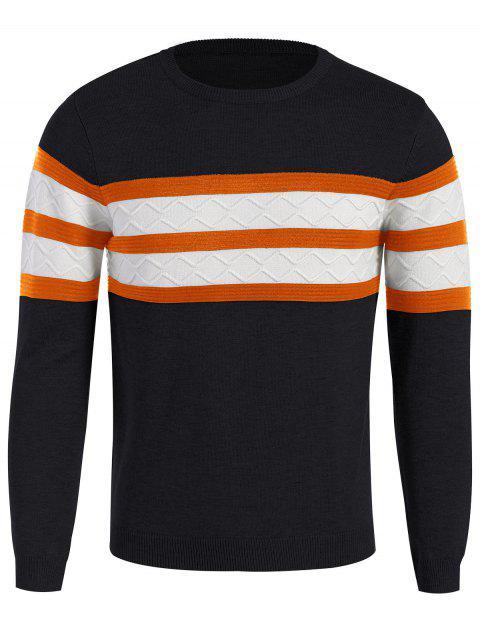 Stripe Rundhals Pullover - Schwarzblau L Mobile