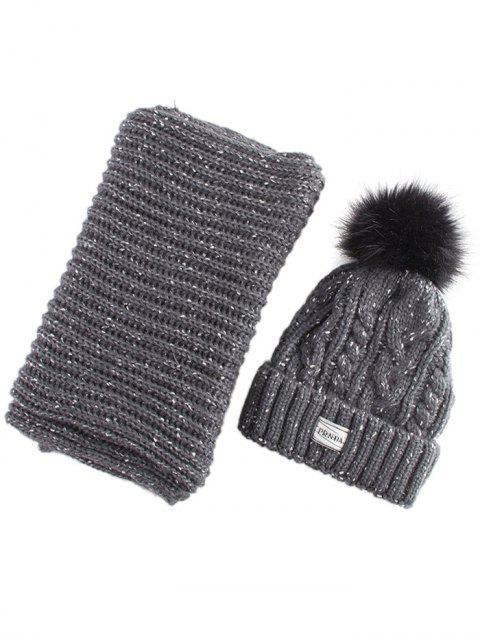 shop Hemp Flower Knit Pom Hat and Scarf - BLACK GREY  Mobile