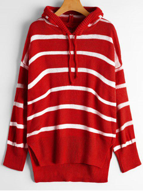 sale Oversized High Low Stripes Hooded Sweater - RED ONE SIZE Mobile