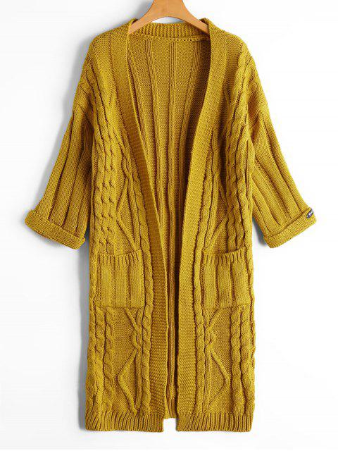 shop Cable Knit Open Front Cardigan with Pockets - YELLOW ONE SIZE Mobile