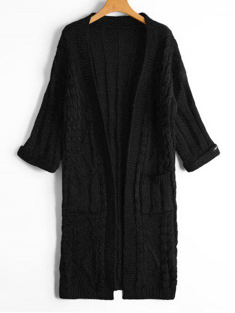 trendy Cable Knit Open Front Cardigan with Pockets - BLACK ONE SIZE Mobile