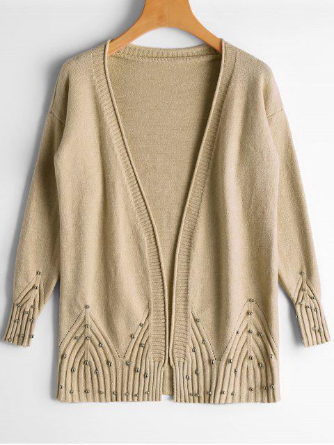 new Open Front Beaded Sheer Cardigan - KHAKI ONE SIZE Mobile