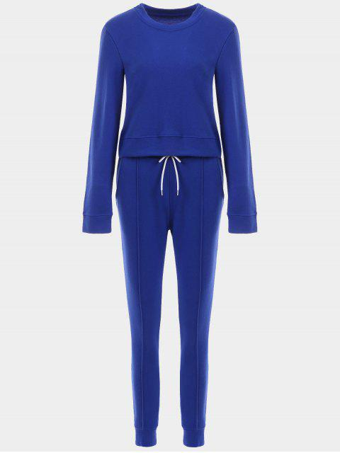 women Sporty Cropped Sweatshirt with Jogger Pants - BLUE L Mobile