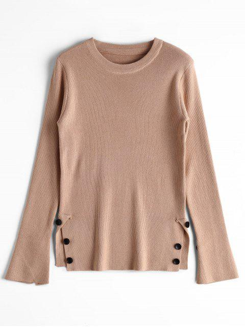 trendy Open Sleeve Side Buttoned Sweater - KHAKI ONE SIZE Mobile