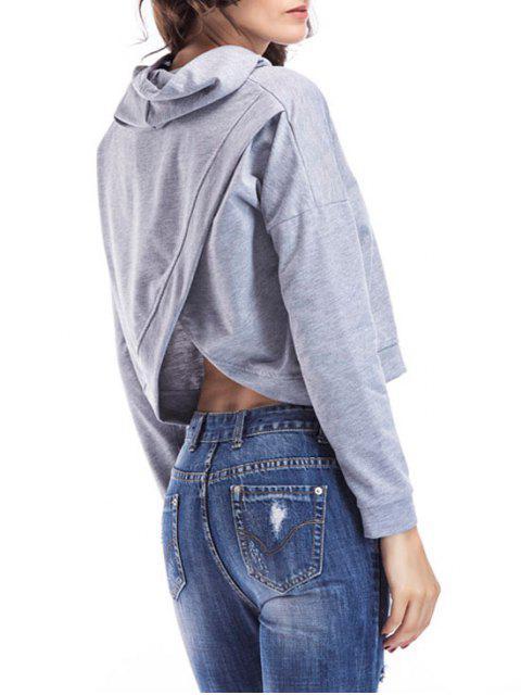 women Loose Casual Crossed Back Hoodie - GRAY XL Mobile