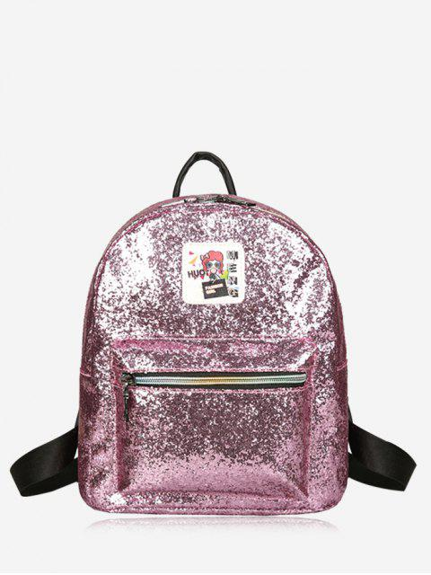 outfit Zipper Glitter Backpack - PINK  Mobile