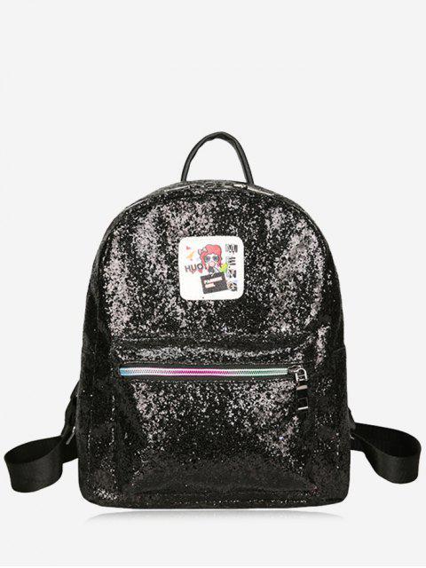 latest Zipper Glitter Backpack - BLACK  Mobile